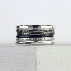Hey, I found this really awesome Etsy listing at https://www.etsy.com/listing/187649907/ombre-silver-stacking-rings-hammered