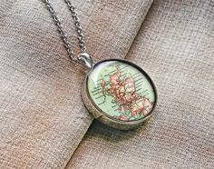 1918 Scotland map necklace Scotland necklace gift for her Map Necklace, Circle Necklace, Pendant Necklace, Scotland Map, Personalized Rings, Resin Pendant, Hand Engraving, Gifts For Her, Play Rooms