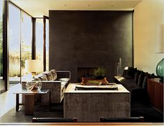 Indoor-Outdoor Living, California Modernist Style - The New York Times > Magazine > Slide Show > Slide 4 of 9 Narrow Living Room, Living Spaces, Decor Interior Design, Interior Decorating, Monochromatic Living Room, Family Room, Home And Family, Modern Fireplace, Fireplace Ideas