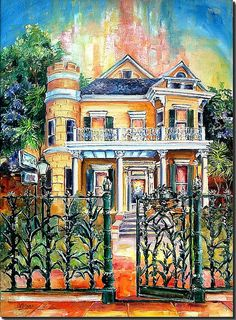 New Orleans Art by Diane Millsap Original Oil on Canvas 46 Inches H. Louisiana Art, Louisiana Homes, New Orleans Art, La Art, House Drawing, Naive Art, What Is Like, Landscape Art, Home Art