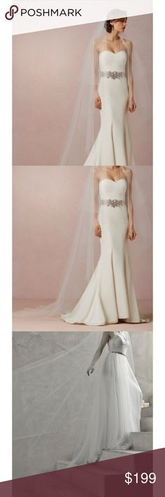 BHLDN Floating Cathedral Veil BHLDN Floating Cathedral Veil. Only worn once. Perfect for classic bridal look! Originally 300+ dollars. Super small hole on the bottom, should be easy and cheap to fix at any tailor! Va et Vien for BHLDN Other