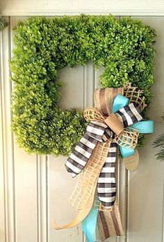 Boxwood Wreath, Square Wreath, Spring Wreath, Easter Wreath