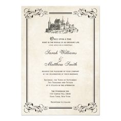 Storybook fairytale once upon a time wedding invitation by tiffany fairytale castle wedding invitations stopboris Gallery