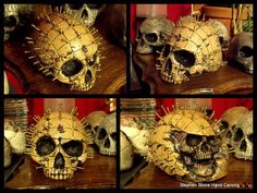SCREW HEAD SKULL Skull Artwork, Skulls, Hand Carved, Artworks, Carving, Sculpture, Halloween, Stone, Prints