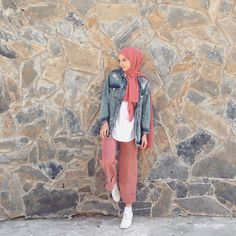 Denim hijab style | fashion