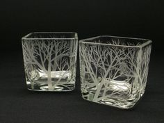 2 Glass Cube Candle Holders . 'Reaching Branches' . Hand Engraved Wedding Decoration . Tree Branch Votive Holders . Home Decor on Etsy, $46.00