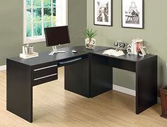 Cappuccino L-Shaped Office Desk with Two Drawers & Keyboard Tray