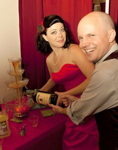 Spoil your guests with a whiskey fountain | Offbeat Bride // HAHAHAHAHAHAHA that would be so awesome. And totally wrong, but awesome. Sparkling cider fountain?