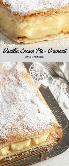 Vanilla Cream Pie Cremsnit Vanilla Cream Pie – Romanian Cremsnit The best cremeschnitte - two layers of puff pastry filled with a heavenly creamy vanilla cream. Cream Pie Recipes, Pastry Recipes, Cooking Recipes, Vanilla Pie Recipes, Vanilla Cream Pie Recipe, Romanian Desserts, Romanian Food, Romanian Recipes, Turkish Recipes