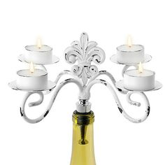 White Fleur De Lis Candelabra - Four Tealights