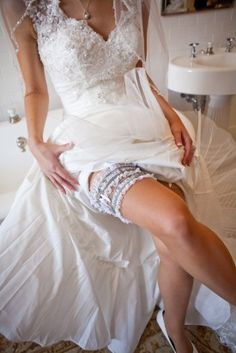 Virginia Military Wedding Bridal Garter in white