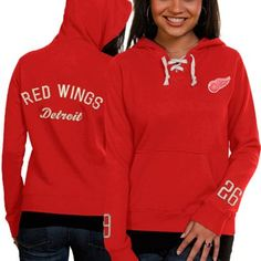Old Time Hockey Detroit Red Wings Ladies Queensboro Lace-Up Pullover Hoodie Sweatshirt - Red
