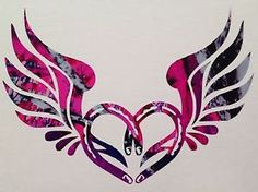 "Horseshoe Wings Heart Vinyl Decal 5"" Truck Blue Camo Cowgirl Muddy ..."