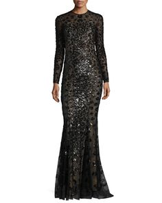 ZUHAIR MURAD Long-Sleeve Illusion Leopard-Sequined Gown, Black. #zuhairmurad #cloth #