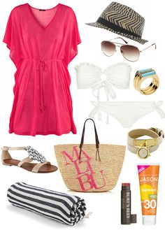 Long Weekend Fashion - Relaxation: H Dress, Fedora, White Bathing Suit, Juicy Couture Beach Bag, Sparkly Sandles, Lip Balm and Natural Sunscreen {via My Daily Randomness}