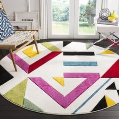 Shop Safavieh Hollywood Valentina Mid-Century Modern Abstract Rug - Overstock - 13261999 - x Round - Ivory/Rose Contemporary Home Decor, Contemporary Area Rugs, Modern Area Rugs, Modern Decor, Mid Century Modern Rugs, Modern Family Rooms, Round Area Rugs, Geometric Rug, Geometric Designs