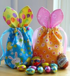 Bunny Bags!   Approx. 4″ wide by 7″ tall (incl. ears!)