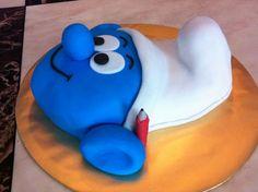 Homemade Handy Smurf fondant choc cake created by my wife