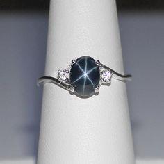 Genuine Blue Star Sapphire Ring Sterling Silver by TSNjewelry