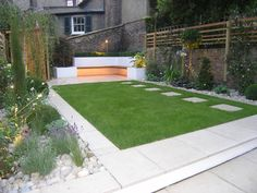 This modern garden design in islington, north london combines contemporary light limestone paving with a spacious lawn. a patio walkway steps up to the Back Garden Design, Modern Garden Design, Landscape Design, Patio Design, Back Gardens, Small Gardens, Backyard Patio, Backyard Landscaping, Modern Backyard