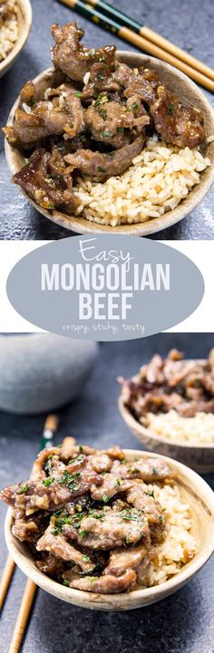 easy mongolian beef is sticky, crispy, and tasty!