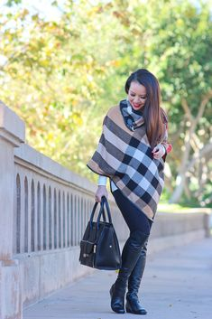 9408c46dc19 Plaid poncho cape and OTK boots 2 Burberry Poncho