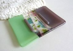 Mint Green and Dusty Lilac Glass Soap Dish