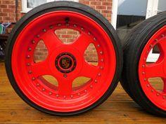Keskin KT1 Alloys & Tyres, RED, Deep Dish, 5 x 100, 9 x 16, ET15, Porsche C.Caps   eBay