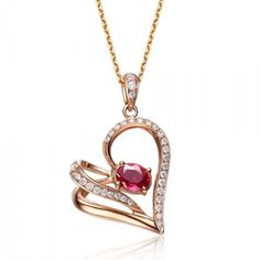50 Unique Diamond Necklaces & Pendants ... heart-shape-ruby-and-diamond-pendant-on-18k-rose-gold └▶ └▶ http://www.pouted.com/?p=33146