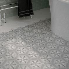 Carrelage hexagonal mate HEXATILE décor NATURE B&W de chez EQUIPE CERAMICA