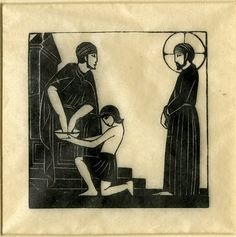 Eric Gill 1882 - 1940 Proof of illustration of Station I, after the artist's 'Stations of the Cross' in Westminster Cathedral. 1917 Wood-engraving, on tissue paper 57 millimetres x 58 millimetres The British Museum, London