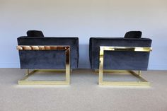 "1stdibs.com | Pair of brass and velvet "" Cube "" chairs by Milo Baughman"