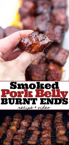 Pork Belly Burnt Ends are so easy to make and the most flavorful and tender smoked meat you could ever want! This is a pork version of burnt ends. Recipe Video how to and recipe! Smoked Pork Belly Burnt Ends (recipe and video) - Vindulge Smoked Meat Recipes, Grilling Recipes, Beef Recipes, Chicken Recipes, Grilling Tips, Pulled Pork Smoker Recipes, Traeger Smoker Recipes, Chicken Dips, Rotisserie Chicken