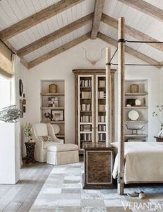 beautiful rustic bedroom Beautiful ceiling!
