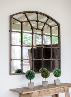 "Dimensions: 39"" x 39""t Shaped like an iron window, this mirror not only opens up a room, but adds a dramatic touch to any space. PRE-ORDER ONLY! WILL SHIP BY FEBRUARY 6TH!"