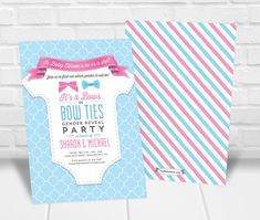 Bows or Bowties Gender Reveal Party Invitation Personalized Invitations, Printable Invitations, Quick Print, Gender Reveal Party Invitations, Bowties, Reveal Parties, Holiday, Prints