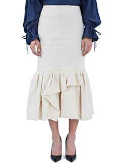 Women's Skirts - Clothing | Order Now at LN-CC - Mid-Length Dropped Asymmetric Frill Skirt