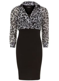 Black animal print scuba dress - Fever Fish - View All Dress Brands  - Dresses