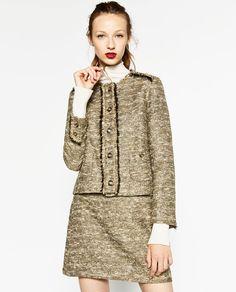 NWT ZARA Gold Bronze Tweed Blazer L Large. High Street Fashion, Blazers For Women, Suits For Women, Zara Gold, Street Style 2017, Tweed Blazer, Red Carpet Looks, Zara Women, Costume