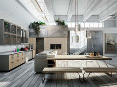 Linear kitchen with island CODE EVOLUTION by Snaidero | design Michele Marcon