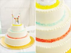 carnival cake with rock candy and diy cake topper from my wedding : )