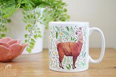 Llama Ceramic Mug Llama Coffee Mug Alpaca Mug Tea Cup Coffee Cup Coffee Lover Ceramic Cup Botanical Mug Llama Gift by ceridwenDESIGNby Ceridwen Hazelchild Design