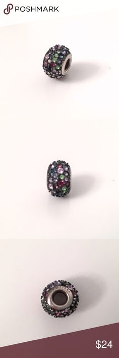 Chamilia Swarovski crystal charm - multi color Chamilia Swarovski crystal charm with multi colored crystals. Green, Purple and pink. Will consider reasonable offers. Chamilia Jewelry