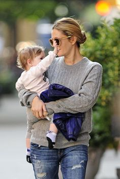 Drew Barrymore - Drew Barrymore Carries Baby Olive in NYC....Love the baby socks and the little purple jacket, I'm so happy for Drew Barrymore! ♡