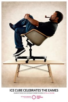 Ice Cube Celebrates recreating a classic Eames poster promoting the Art In L.A. Event for Pacific Standard Time. Credit: Credit TBWA/Chiat/Day Los Angeles