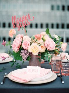 Will You Be My Flower Girl? Flowers/Styling: The Southern Table Table Centerpieces, Wedding Centerpieces, Wedding Decorations, Table Decorations, Wedding Tables, Wedding Reception Planning, Event Planning, Event Signage, Wedding Rentals