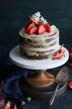 Strawberry Vanilla Almond Cream Cake {gluten, dairy, refined sugar free}
