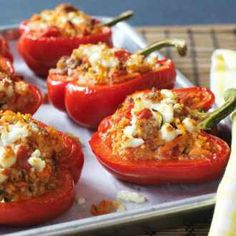 Sausage and Couscous Stuffed Peppers. It's so pretty!