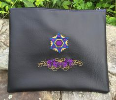 Tallit Bag Embroidered Colorfully - Star of David in Vegan Leather  #gift #mitzvah #jewish #holyland #judaica #israel