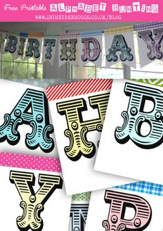Alphabet Bunting Free Printables --- lots of different ones --- Granted me access to Dropbox for access to them